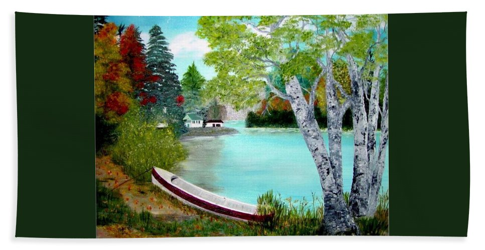 Beautiful Bracebridge Ontario Oil Painting Bath Towel featuring the painting Summer In The Muskoka's by Peggy Holcroft
