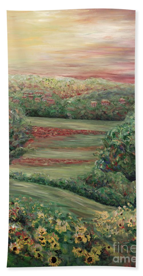 Landscape Bath Towel featuring the painting Summer In Tuscany by Nadine Rippelmeyer