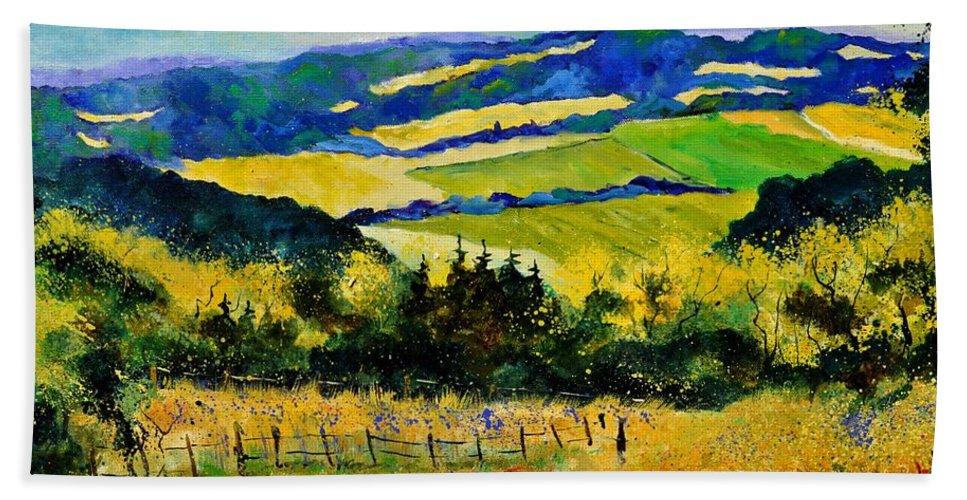 Landscape Bath Sheet featuring the painting Summer Landscape by Pol Ledent