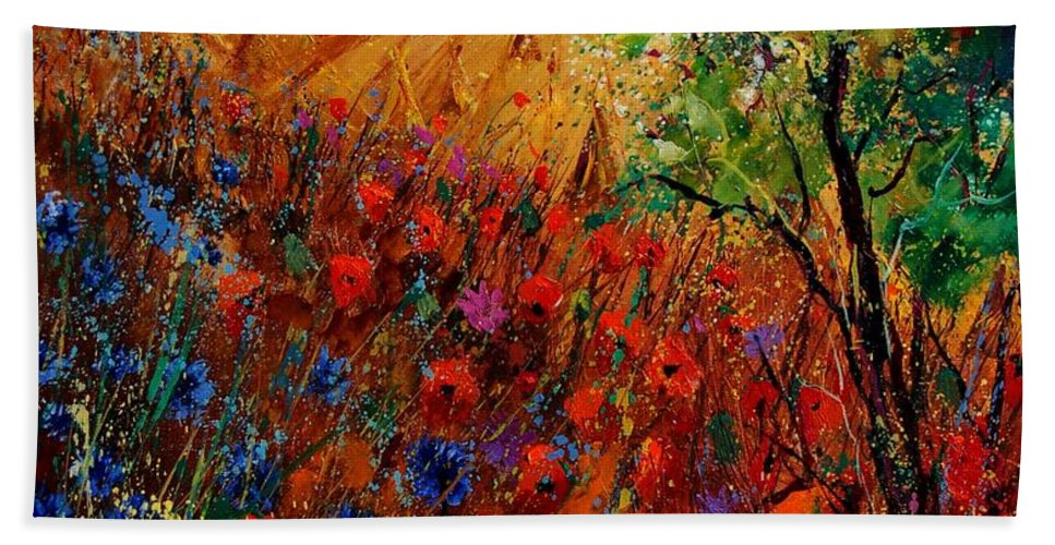 Flowers Hand Towel featuring the painting Summer Landscape With Poppies by Pol Ledent