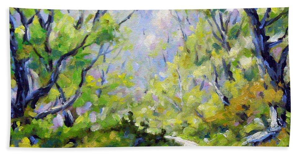 Art Bath Sheet featuring the painting Summer Lights by Richard T Pranke