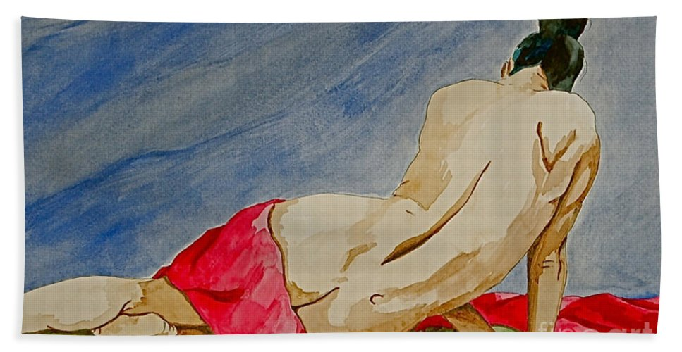 Nudes Red Cloth Bath Towel featuring the painting Summer morning 2 by Herschel Fall