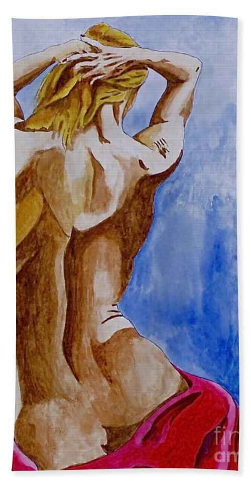 Nude By Herschel Fall Very Hot Nude Bath Towel featuring the painting Summer Morning by Herschel Fall