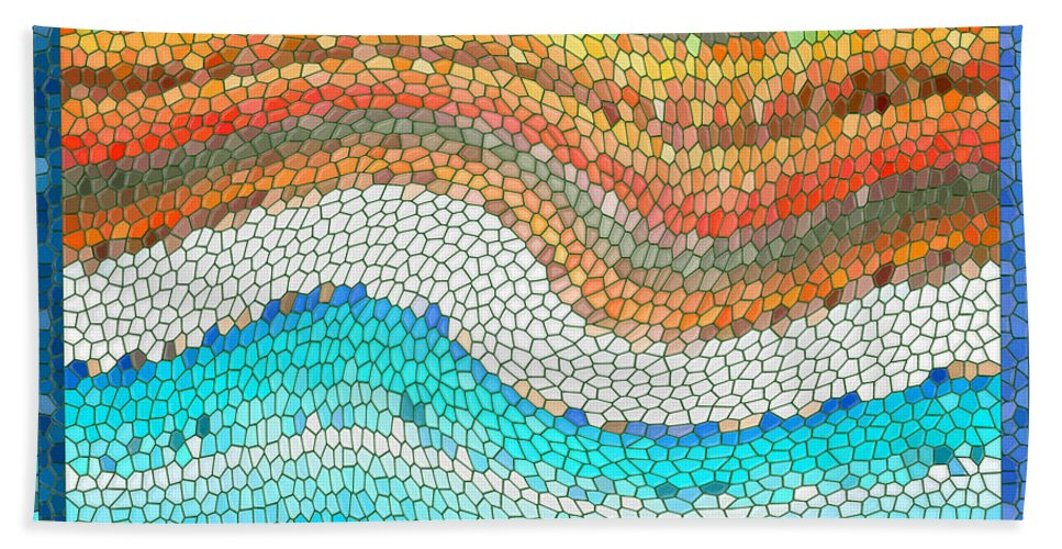 Colorful Hand Towel featuring the digital art Summer Mosaic by Melissa A Benson