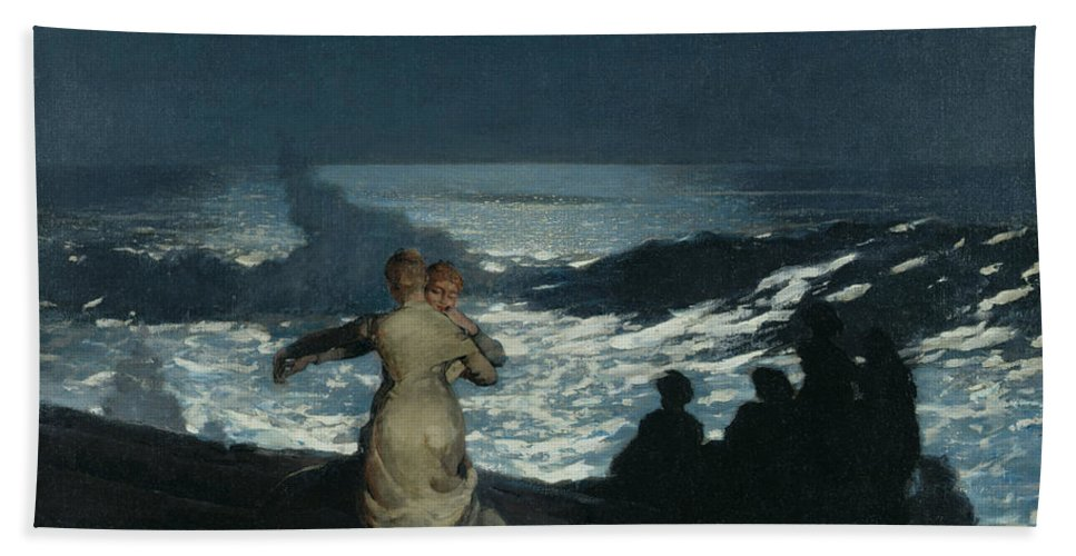Winslow Homer Hand Towel featuring the painting Summer Night by Winslow Homer