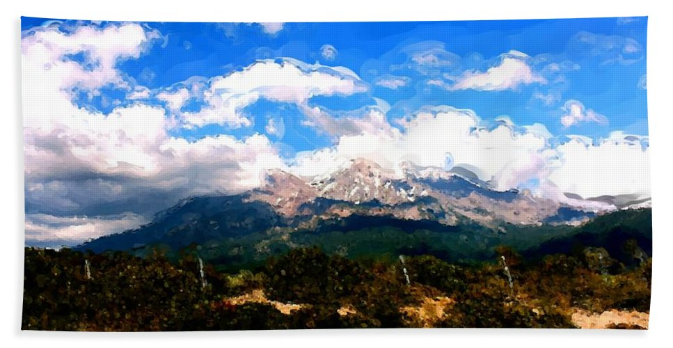 Summer On Mt. Shasta Bath Sheet featuring the painting Summer On Mt. Shasta by Methune Hively
