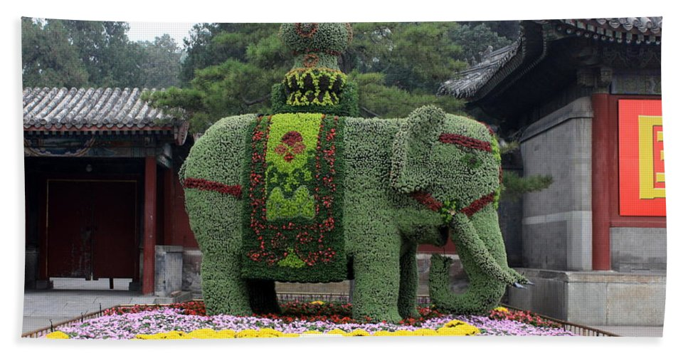 Summer Palace Hand Towel featuring the photograph Summer Palace Elephant by Carol Groenen