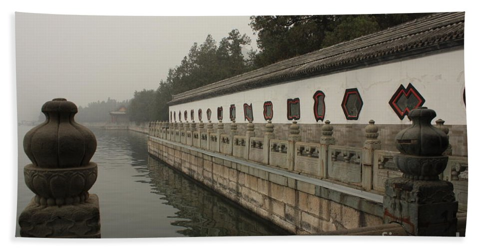 Summer Palace Hand Towel featuring the photograph Summer Palace Pond With Ornate Balustrades by Carol Groenen