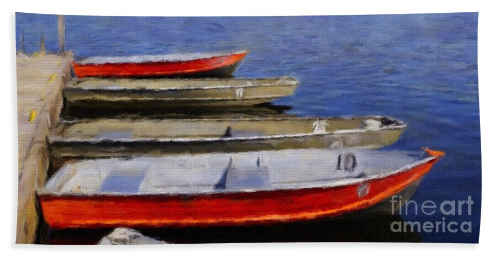Boats Hand Towel featuring the digital art Summer Passing by David Boudreau