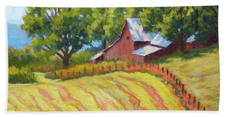 Landscape Bath Sheet featuring the painting Summer Patterns by Keith Burgess