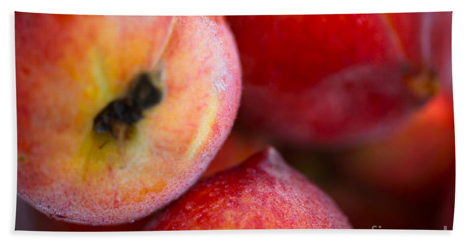 Peach Hand Towel featuring the photograph Summer Peaches by Nadine Rippelmeyer