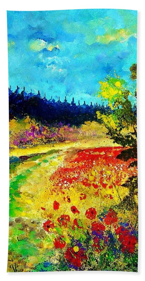 Flowers Hand Towel featuring the painting Summer by Pol Ledent