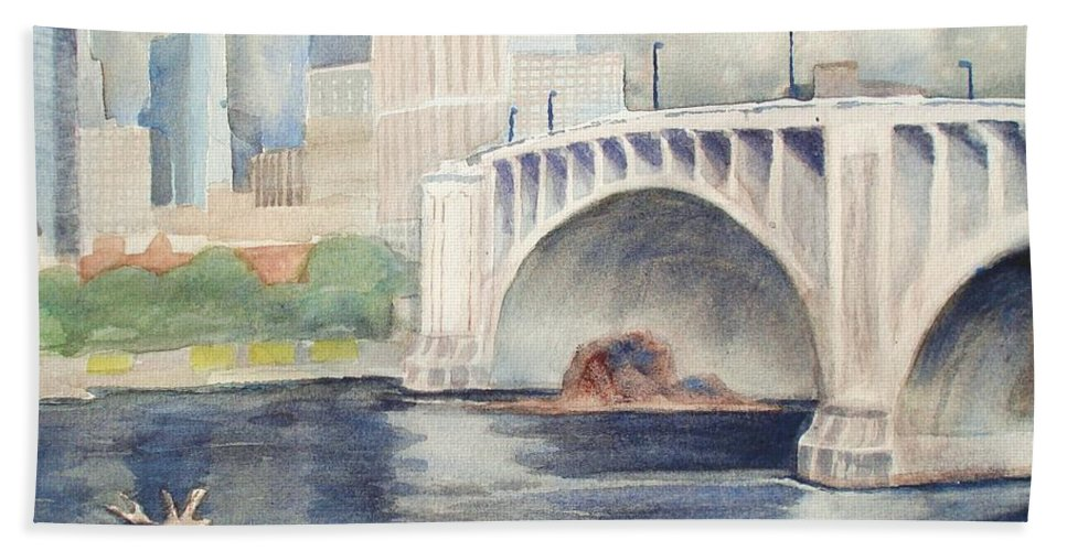 Scenery Bath Sheet featuring the painting Summer Rain by Marilyn Jacobson