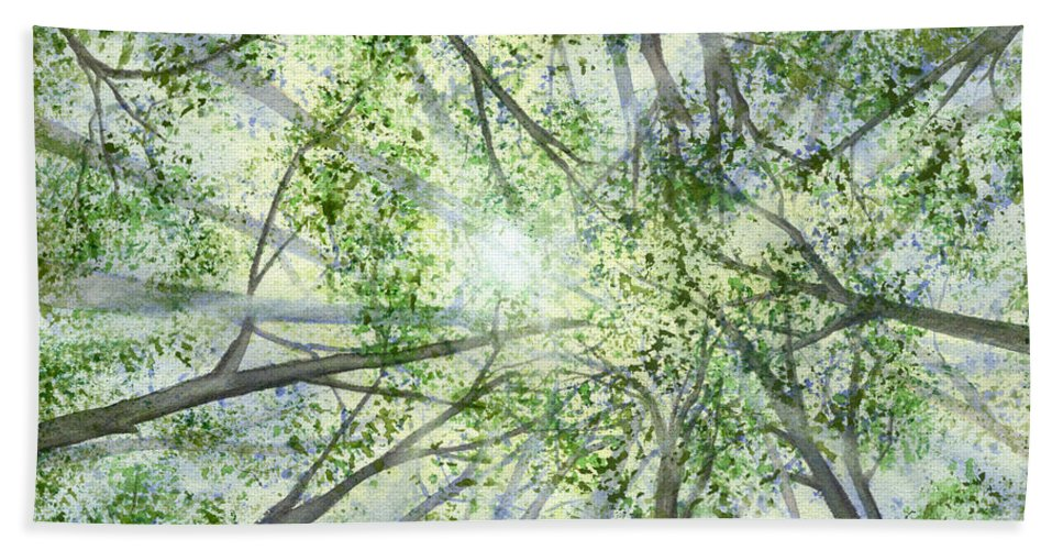 Trees Hand Towel featuring the painting Summer Rays by Lynn Quinn