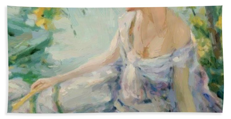 Summer Hand Towel featuring the painting Summer Reverie by Reid Robert Lewis