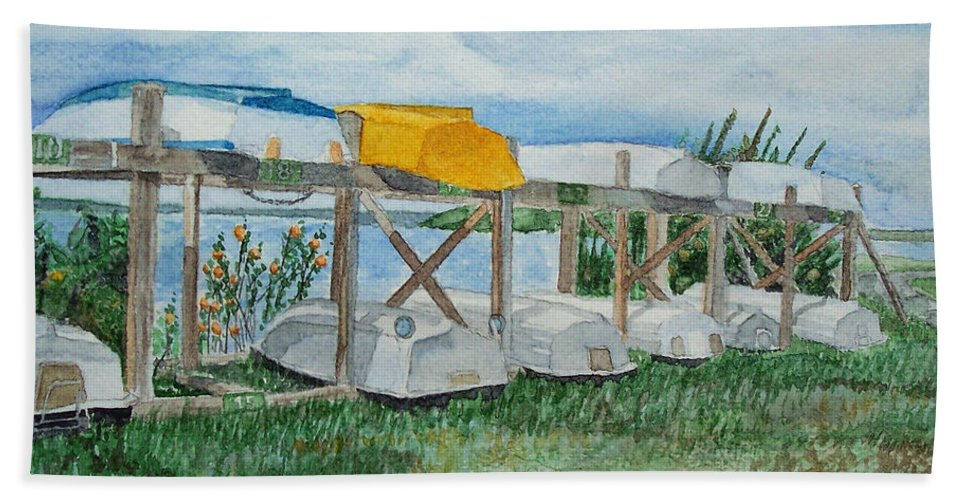 Rowboats Bath Towel featuring the painting Summer Row Boats by Dominic White