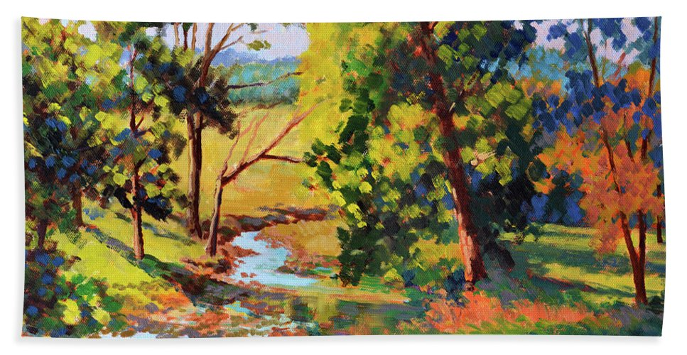 Impressionism Hand Towel featuring the painting Summer Shadows by Keith Burgess