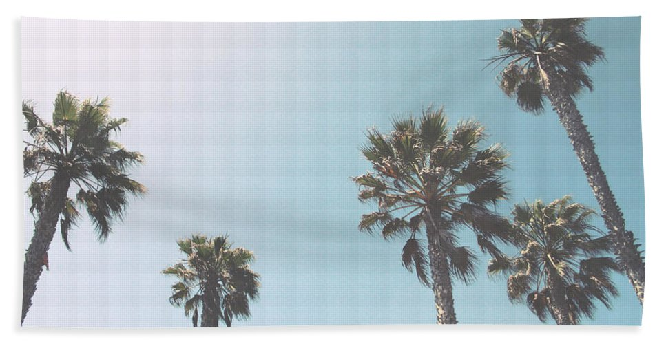 Palm Trees Hand Towel featuring the photograph Summer Sky- by Linda Woods by Linda Woods