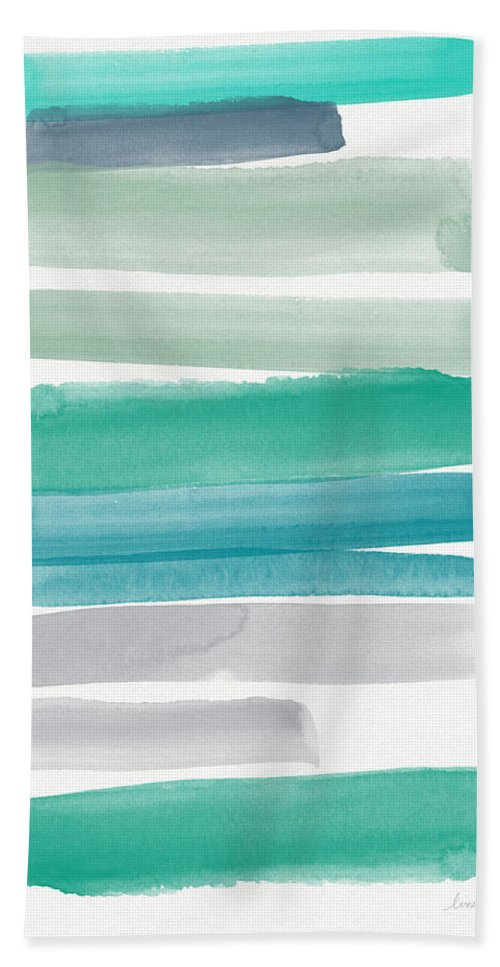 Abstract Sky Bath Towel featuring the painting Summer Sky by Linda Woods