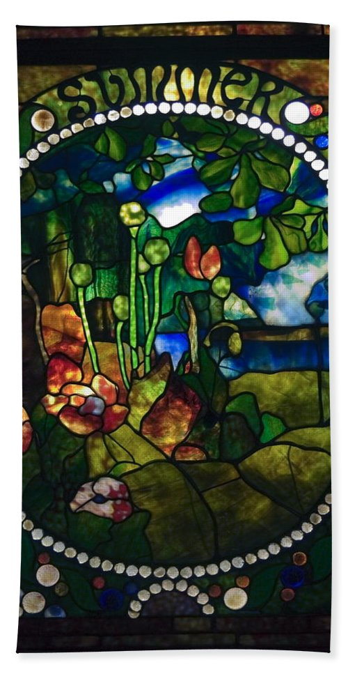 Stained Glass Panel Bath Sheet featuring the photograph Summer Stained Glass Panel by Sally Weigand
