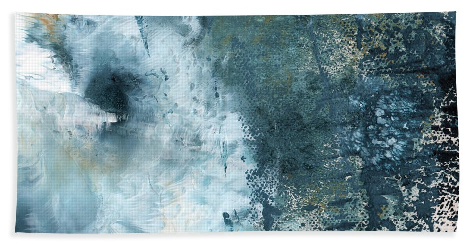 Abstract Bath Towel featuring the painting Summer Storm- Abstract Art by Linda Woods by Linda Woods
