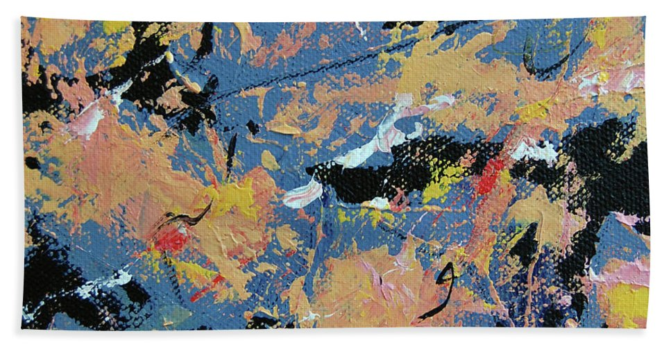 Abstract Hand Towel featuring the painting Summer Storm by Dave Jones