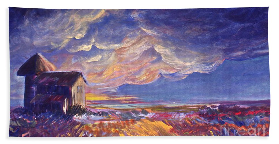 Summer Prairie Storm Bath Towel featuring the painting Summer Storm by Joanne Smoley