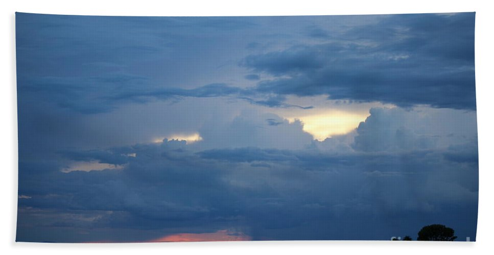 Storm Hand Towel featuring the photograph Summer Storm Moving In Corinna Maine by Colleen Snow