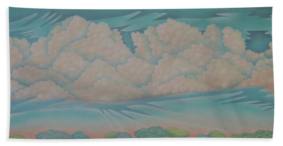 Landscape Hand Towel featuring the painting Summer Sunrise by Jeniffer Stapher-Thomas