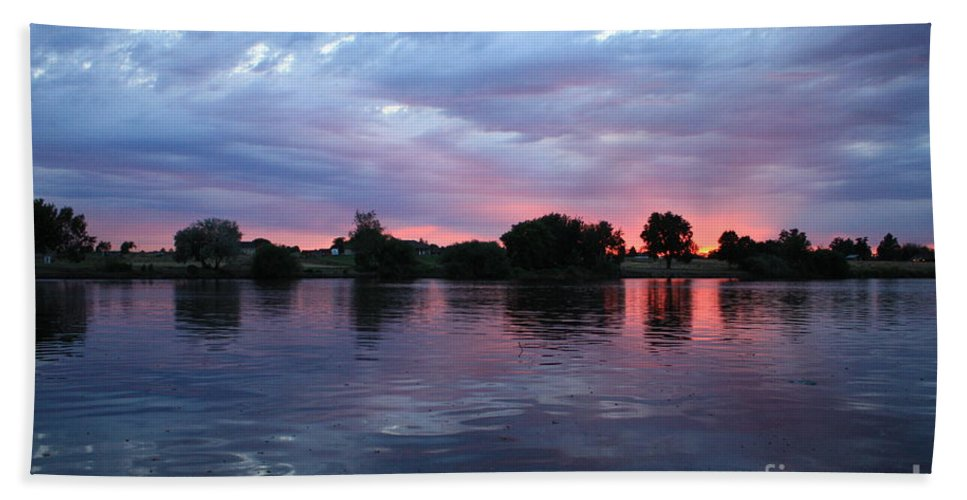 Sunset Hand Towel featuring the photograph Summer Sunset On Yakima River 4 by Carol Groenen