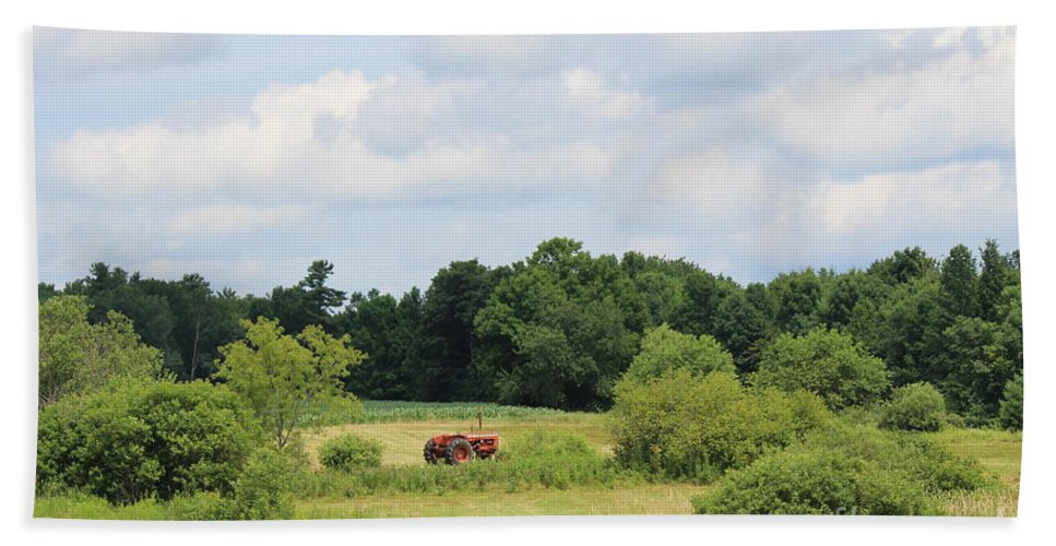Summer Hand Towel featuring the photograph Summer Tractor In Field Corinna Maine by Colleen Snow