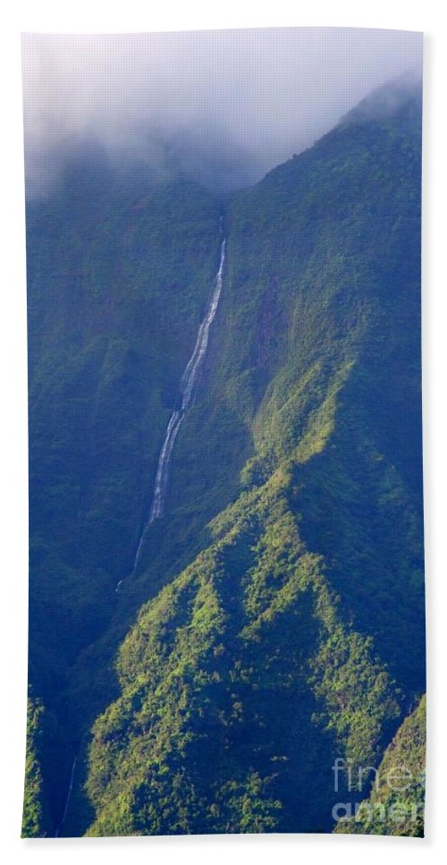 Waterfalls Hand Towel featuring the photograph Summer Waterfall Behind Hanalei Bay by Mary Deal