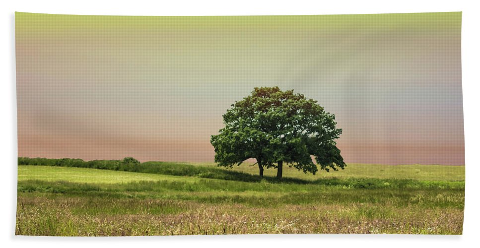 Tree Bath Towel featuring the photograph Summer's Evening by Martin Newman