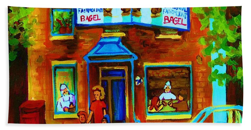 Mom And Tots Hand Towel featuring the painting Summers With Mom At Fairmount by Carole Spandau