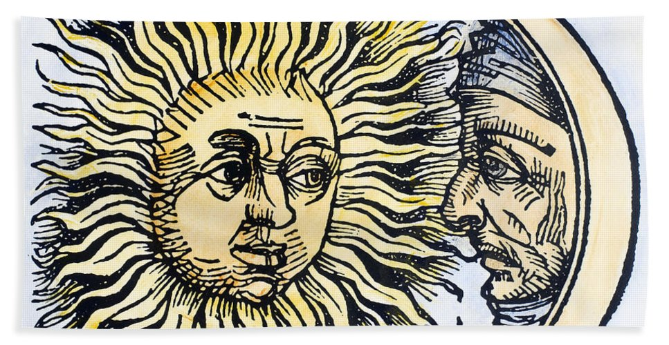 1493 Hand Towel featuring the photograph Sun And Moon, 1493 by Granger
