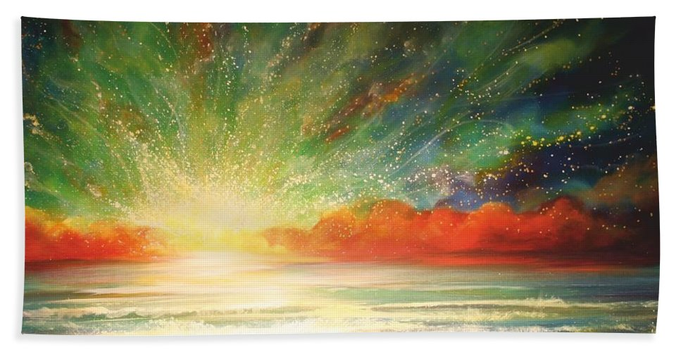Sunset Hand Towel featuring the painting Sun Bliss by Naomi Walker
