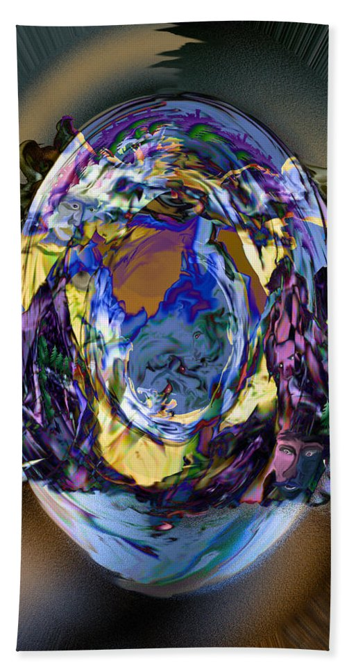 Sun Clouds Faces Mountains Illusion Trees Color People Bath Sheet featuring the digital art Sun Cloud Visions by Andrea Lawrence