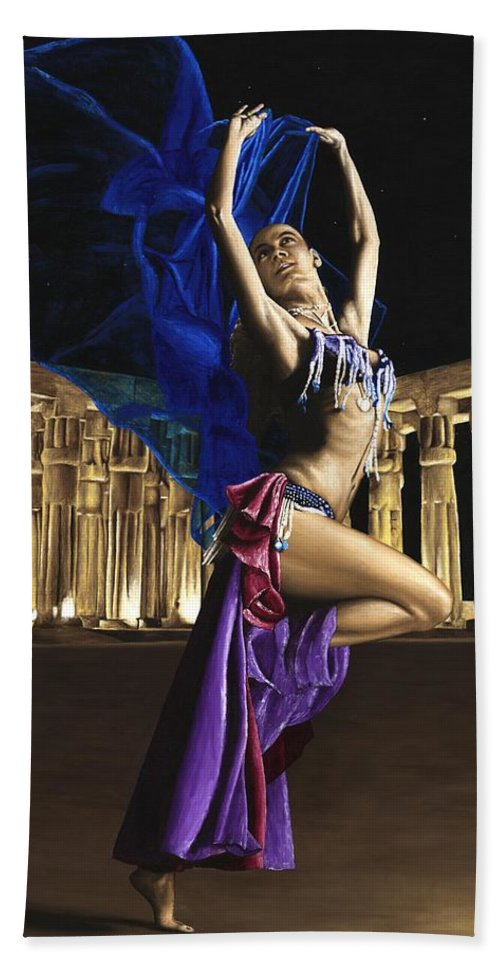 Belly Hand Towel featuring the painting Sun Court Dancer by Richard Young