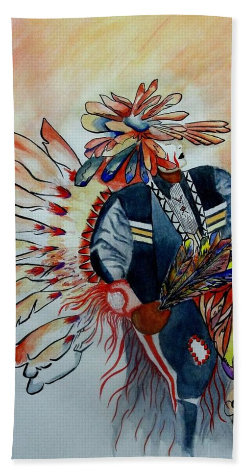 American Bath Sheet featuring the painting Sun Dancer by Jimmy Smith