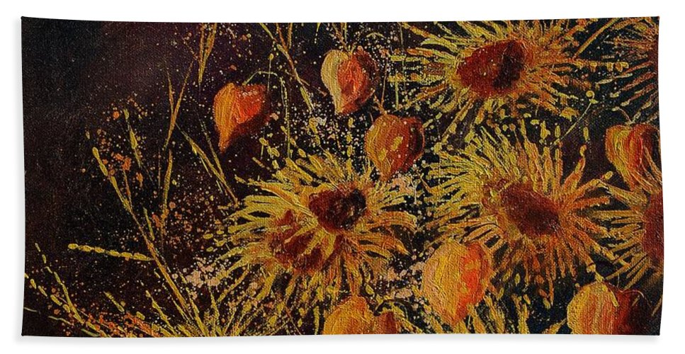Flowers Hand Towel featuring the painting Sun Flowers And Physialis by Pol Ledent