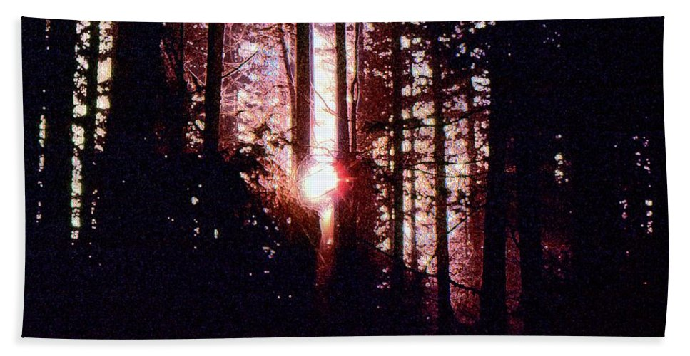 Abstract Hand Towel featuring the digital art Sun In The Forest Two by Lyle Crump