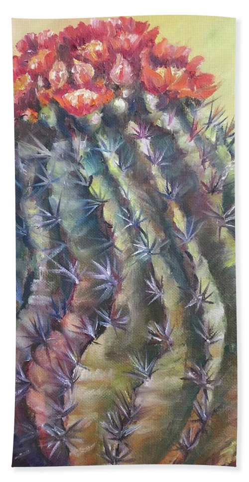 The Desert Cactus Is Not Just One Color And In The Bright Sun All The Colors Have A Glow All Of Their Own. The Greens Are Greener Bath Towel featuring the painting Sun Kissed Barrel Cactus by Charme Curtin