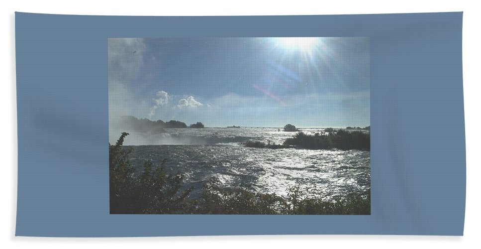 Landscape Hand Towel featuring the photograph Sun On The Falls by Debbie Levene
