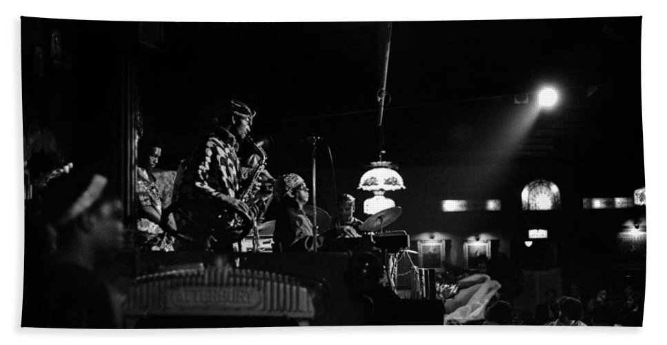 Jazz Bath Sheet featuring the photograph Sun Ra Arkestra At The Red Garter 1970 Nyc 21 by Lee Santa