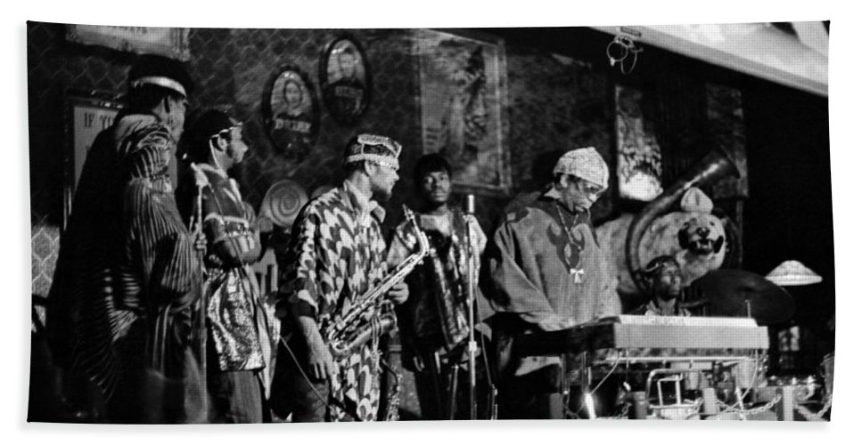 Jazz. B&w Hand Towel featuring the photograph Sun Ra Arkestra At The Red Garter 1970 Nyc 4 by Lee Santa