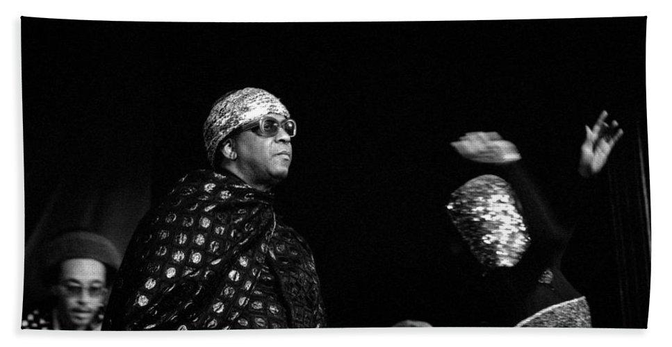 Jazz Bath Sheet featuring the photograph Sun Ra by Lee Santa
