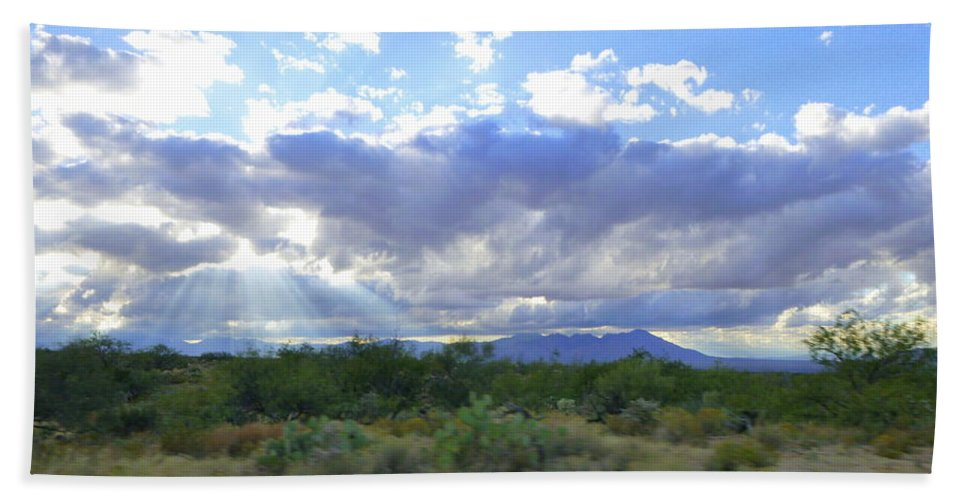 Tucson Bath Sheet featuring the photograph Sun Rays And Desert Landscape by Teresa Stallings
