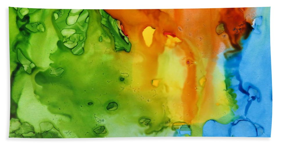 Sun Hand Towel featuring the painting Sun Reflected In The Waterfall by Tammy Finnegan