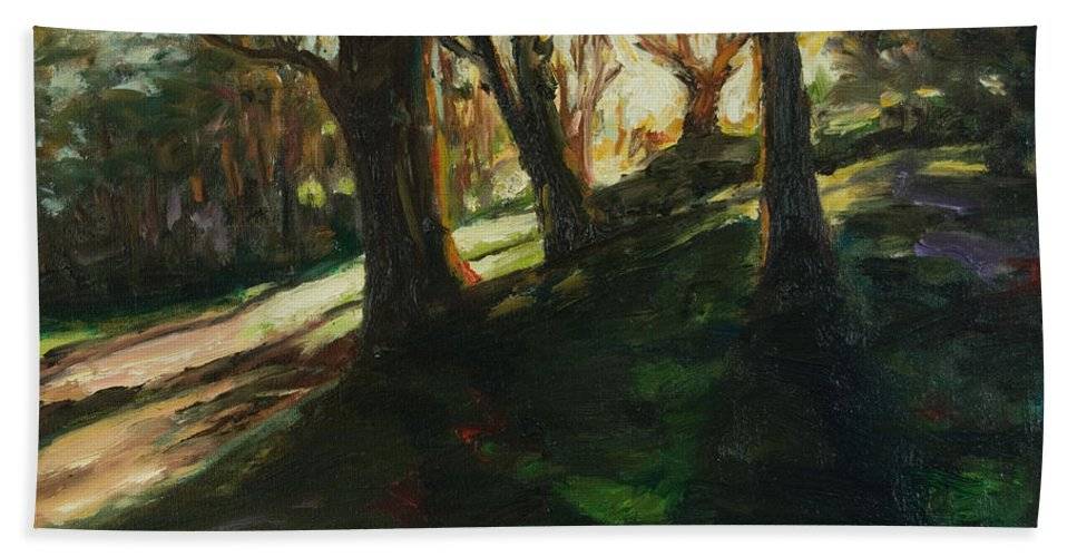 Trees Bath Sheet featuring the painting Sun by Rick Nederlof