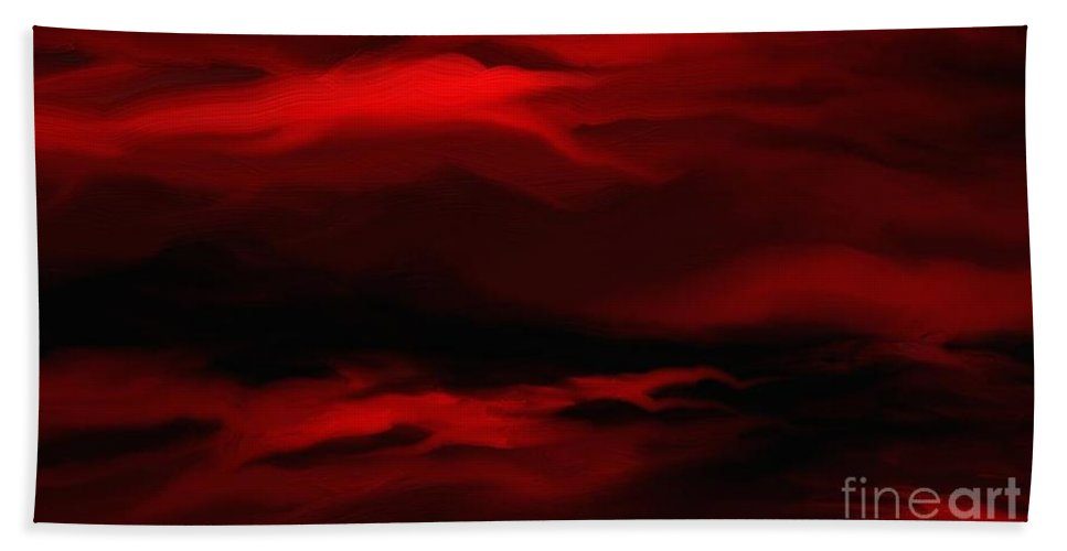 Digital Hand Towel featuring the painting Sun Sets In Red by Rushan Ruzaick